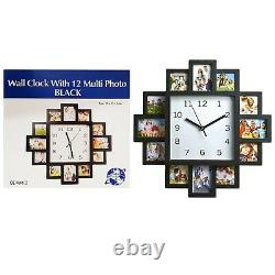 12 Multi Photo Wall Clock Home Decor Family Love Pictures Modern Aperture Frame