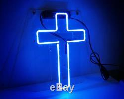 14x7Cross Neon Sign Light Christianity Room Wall Decor Handmade Art Customized