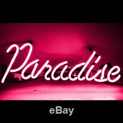 14x7Pink Paradise Neon Sign Light Party Home Room Wall Decor Handcraft Artwork