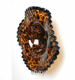 16 Hand Blown Art Glass Table Platter Plate Bowl Black Amber Wall Hanging Mount