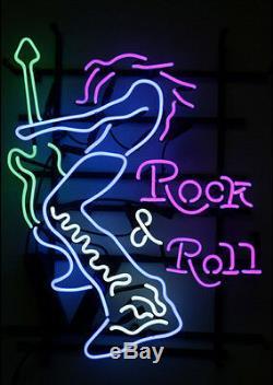 24X20New Rock'N'Roll Neon Sign Light Beer Bar Pub Wall Poster Rock Club Decor