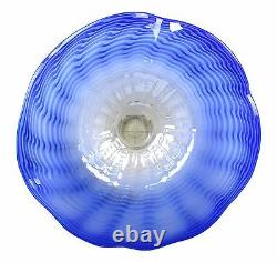26 Hand Blown Art Glass Table Platter Plate Blue White with Wall Hanging Mount