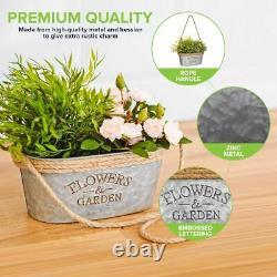 2 x Vintage Zinc Plant Garden Flower Pot Holder Basket Wall Outdoor Indoor Decor