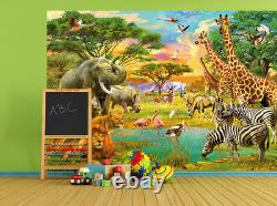 384x260cm Photo Wallpaper wall mural Safari Wild animals decor childrens bedroom