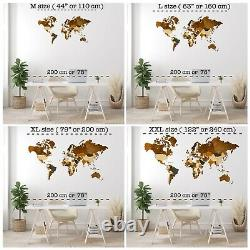 3D Wooden Wall World Map L sz(63 x 37) Countries+States+Capitals