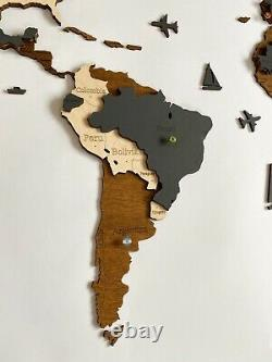 3D Wooden Wall World Map M sz(43 x 24) with Country Names Brown+Dark Grey