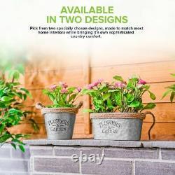 3 x Vintage Zinc Plant Garden Flower Pot Holder Basket Wall Outdoor Indoor Decor