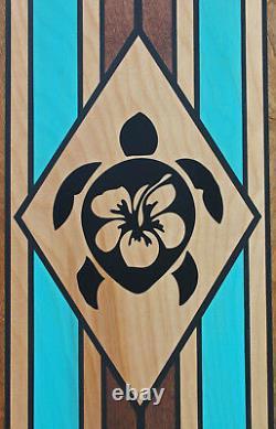 7 Ft Wood Surfboard Tribal honu Art Table Bar Top Hawaiian Tiki Bar Decor Turtle