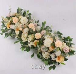 Artificial Silk Champagne Flower Row Wall Panel Wedding Supply Background Decor