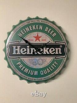 Authentic Vintage Heineken Large Clock Retro Man Cave Bar Plaque Wall Decor