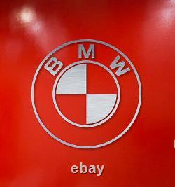 BMW roundel wall decor Sign Garage Brushed Silver Aluminum Logo 2 feet Diameter