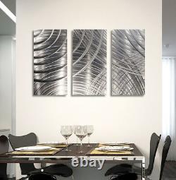 BRILLIANT METAL WALL ART 3 Panels Modern Silver Sculpture Decor Jon Allen