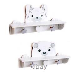 Baby Kids Bedroom Decorative Peg Shelf Hook Storage Rack Animal Wall Shelves