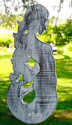 Balinese Mermaid Wall Sculpture Panel Nautical Decor carved wood Bali Art left
