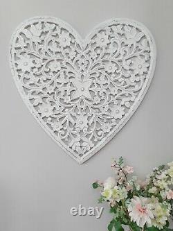 Beautiful Large White Hand Carved Filigree Mango Wood Wall Decor Feature Heart