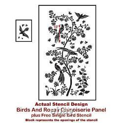Birds and Roses Chinoiserie Wall Mural Stencil DIY Asian Garden Decor Small
