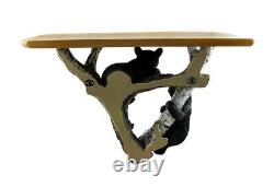 Black Bear Cubs and Tree Decorative Wooden Shelf Wall Sculpture Western Country
