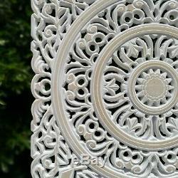 Carved Wooden Wall Art 22 Large Decorative Mandala Yoga Headboard White