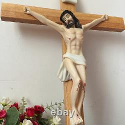 Catholic Large Jesus On wooden/Wood/Decor crucifix wall Hanging Cross Statue 22