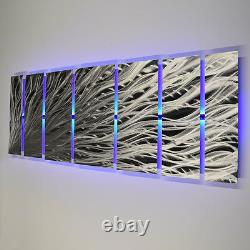 Color Changing LED Modern Abstract Metal Wall Art Sculpture Painting Decor RGB