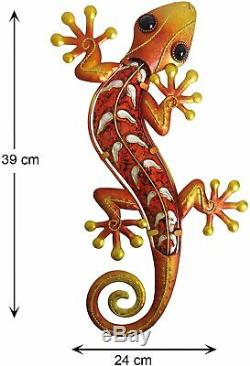 Creekwood Gecko Metal Outdoor Garden Lizard Wall Art Decoration Large Orange
