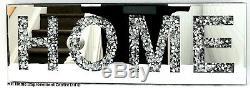 Diamond Crush Sparkly Silver Mirrored HOME Decorative Wall Hanging Art 20x60cm