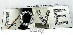 Diamond Crush Sparkly Silver Mirrored LOVE Decorative Wall Hanging Art 20x60cm