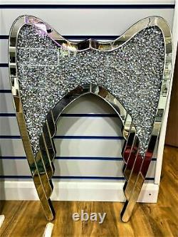 Diamond Crushed Crystal Angel Wings Sparkly Silver Mirrored Wall Decore