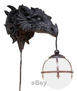 Dungeon Evil Dragon Head Wall Mount Ball Lamp Handpainted Sculpture Decoration