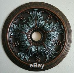 Elegant Hand Painted Turquoise Copper Ceiling Medallion Chandelier Wall Decor 20