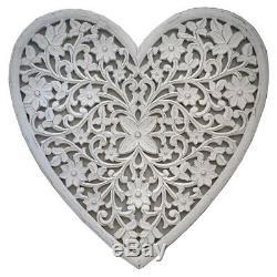 Extra Large Hand Carved White Mango Wood Art Heart Wall Panel Decoration