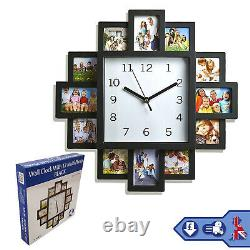 Family Love Picture Wall Clock 12 Multi Photo Frame Gift Home Decor Modern Fun