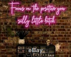 Focus on the Positive Neon Sign Light Glass Lamp Events Pub Home Room Wall Decor