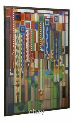 Frank Lloyd Wright Metal Framed Saguaro Cactus Flowers Stained Glass Wall Decor