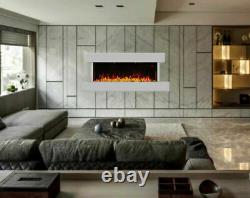 Gloss Wall Mounted LED Electric Fire Effect Place 3D Pebbles Modern Home Decor