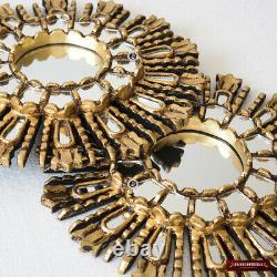 Gold Small Sunburst Mirror 11.8 from Peru, Hand carved Round Mirror wall decor