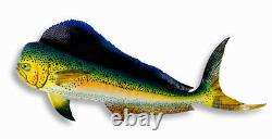 Hand Painted Jumbo 48 Mahi Dolphin Game Fish Wall Mount Decor Sculpture D030G