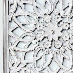Handcarving on Wood Antique White Wall Art Decorative Sculpture Hanging Decor
