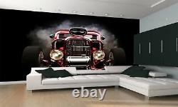 Hot rod with smoke background Wall Mural Photo Wallpaper GIANT DECOR Paper Poste