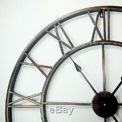 Huge 100cm Metal Iron Antique Roman Number Wall Clocks Vintage Home Decoration