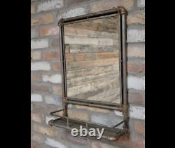 Industrial Mirror Shelving Unit Wall Mountable Decoration Pipe Frame Storage New