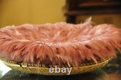 Kenyan feather JuJu Hat decorative wall hanging, feather basket