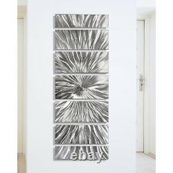 LARGE BRILLIANT SILVER Abstract Metal Wall Art Modern SCULPTURE DECOR Jon Allen
