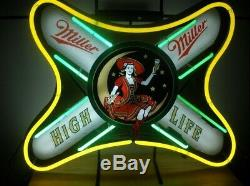 LIte Miller High Life Girl Neon Light Sign 20x16 Man Cave Bedroom Wall Decor