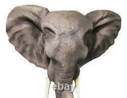 Large 19L Sahara Safari African Elephant Wall Hanging Bust Plaque Sculpture