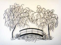 Large Contemporary Metal Wall Art Decor Picture Weeping Willow Bridge Scene