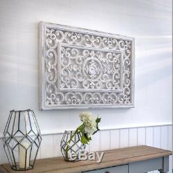 Large Hand Carved White Ornate Mango Wood Art Rectangle Wall Panel Decoration