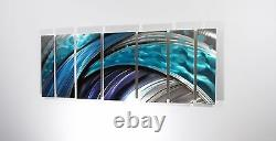 Large Metal Wall Art Sculpture Abstract Wave Painting Decor Blue by Brian Jones