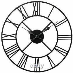 Large Wall Clock Big Roman Numerals Giant Open Face Metal Home Decoration Round