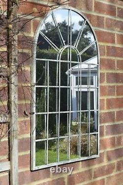 Large Wall Mirror Off White Chic Arched Garden 2Ft7 X 1Ft8 79cm X 51cm